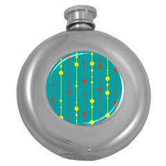 Green, yellow and red pattern Round Hip Flask (5 oz)