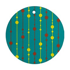 Green, yellow and red pattern Round Ornament (Two Sides)
