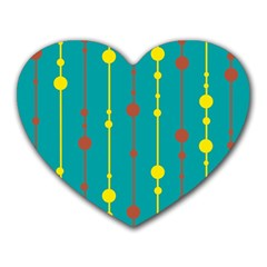 Green, yellow and red pattern Heart Mousepads