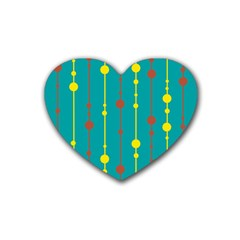 Green, yellow and red pattern Heart Coaster (4 pack)