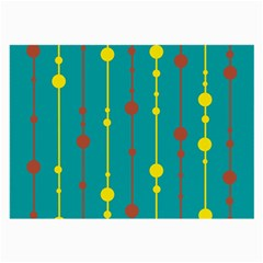 Green, yellow and red pattern Large Glasses Cloth (2-Side)