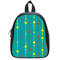 Green, yellow and red pattern School Bags (Small)