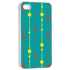 Green, yellow and red pattern Apple iPhone 4/4s Seamless Case (White)