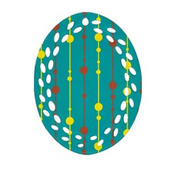 Green, yellow and red pattern Oval Filigree Ornament (2-Side)