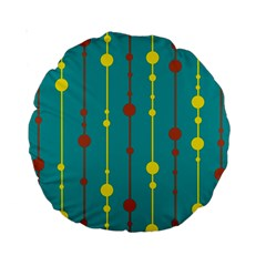 Green, yellow and red pattern Standard 15  Premium Round Cushions