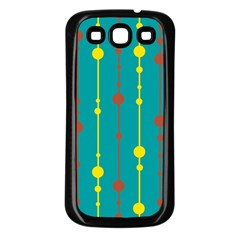 Green, yellow and red pattern Samsung Galaxy S3 Back Case (Black)