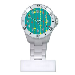 Green, yellow and red pattern Plastic Nurses Watch