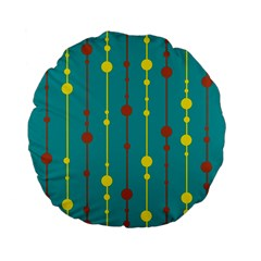 Green, Yellow And Red Pattern Standard 15  Premium Flano Round Cushions