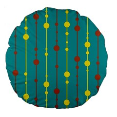 Green, yellow and red pattern Large 18  Premium Flano Round Cushions