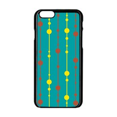 Green, yellow and red pattern Apple iPhone 6/6S Black Enamel Case