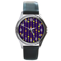 Deep blue, orange and yellow pattern Round Metal Watch