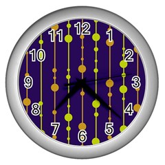 Deep blue, orange and yellow pattern Wall Clocks (Silver)