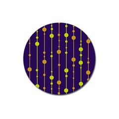Deep blue, orange and yellow pattern Magnet 3  (Round)