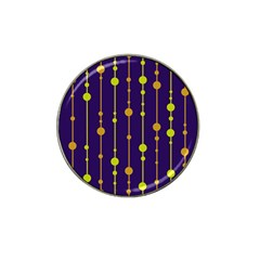 Deep blue, orange and yellow pattern Hat Clip Ball Marker (4 pack)