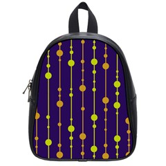 Deep blue, orange and yellow pattern School Bags (Small)