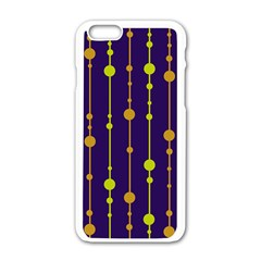 Deep blue, orange and yellow pattern Apple iPhone 6/6S White Enamel Case