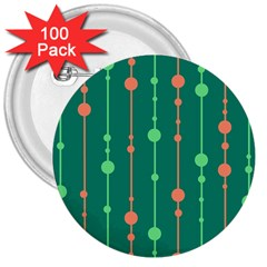 Green pattern 3  Buttons (100 pack)