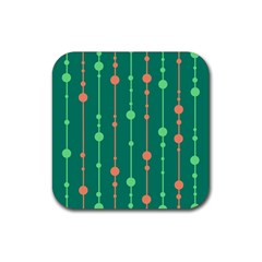 Green pattern Rubber Coaster (Square)