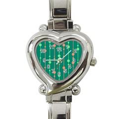 Green pattern Heart Italian Charm Watch