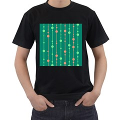 Green pattern Men s T-Shirt (Black) (Two Sided)