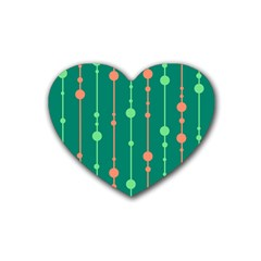 Green pattern Rubber Coaster (Heart)