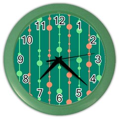 Green pattern Color Wall Clocks