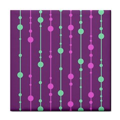 Purple and green pattern Tile Coasters