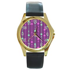 Purple and green pattern Round Gold Metal Watch