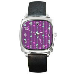 Purple and green pattern Square Metal Watch