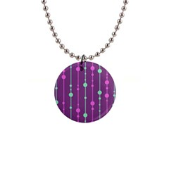 Purple and green pattern Button Necklaces
