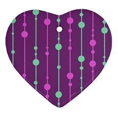 Purple and green pattern Heart Ornament (2 Sides)
