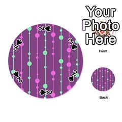 Purple and green pattern Playing Cards 54 (Round)