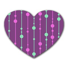Purple and green pattern Heart Mousepads