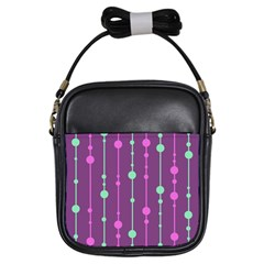 Purple and green pattern Girls Sling Bags