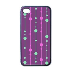 Purple and green pattern Apple iPhone 4 Case (Black)