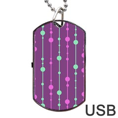 Purple and green pattern Dog Tag USB Flash (Two Sides)