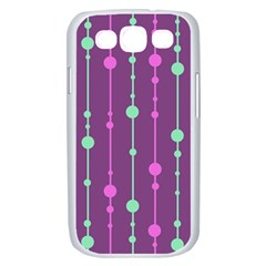 Purple and green pattern Samsung Galaxy S III Case (White)