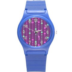 Purple and green pattern Round Plastic Sport Watch (S)