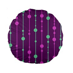 Purple and green pattern Standard 15  Premium Round Cushions