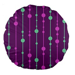 Purple and green pattern Large 18  Premium Round Cushions