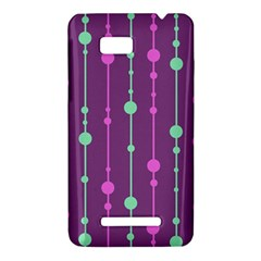 Purple and green pattern HTC One SU T528W Hardshell Case