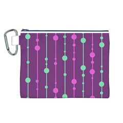Purple and green pattern Canvas Cosmetic Bag (L)