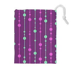 Purple and green pattern Drawstring Pouches (Extra Large)