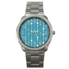 Blue pattern Sport Metal Watch