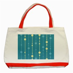Blue pattern Classic Tote Bag (Red)