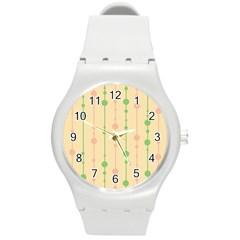 Pastel pattern Round Plastic Sport Watch (M)