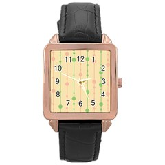 Pastel pattern Rose Gold Leather Watch