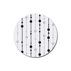 Black and white elegant pattern Rubber Round Coaster (4 pack)