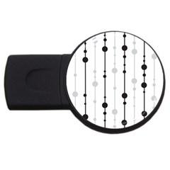 Black and white elegant pattern USB Flash Drive Round (2 GB)