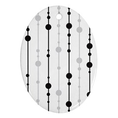 Black and white elegant pattern Oval Ornament (Two Sides)